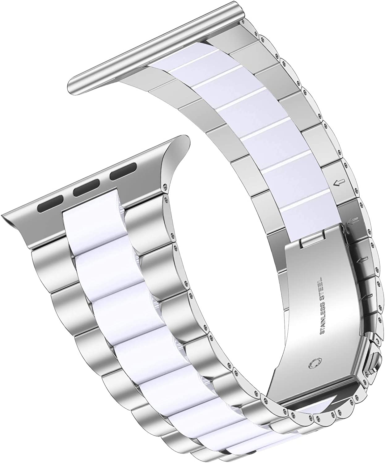 iiteeology Compatible with Apple Watch Band 44mm 42mm, Resin Stainless Steel Metal Link Wristbands for iWatch SE Series 6 5 4 3 2 1 - Silver+White