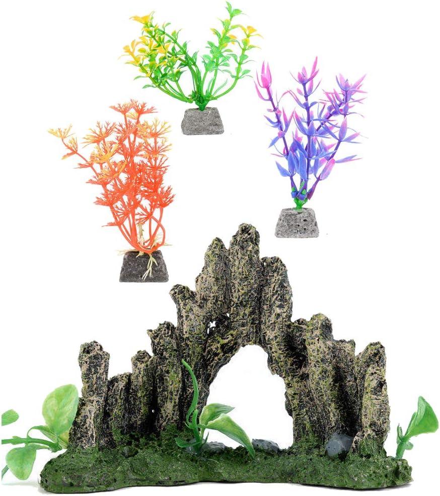 Sainwill Aquarium Mountain and Plastic Plans Set for Home Aquarium, Small Fish Tank Decorations, 4 Pack