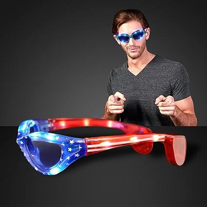 f2e88febe1c Amazon.com  Stars   Stripes American Flag Light Up LED Sunglasses  Toys    Games