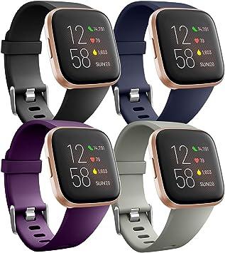 Ouwegaga Banda de Repuesto de Silicona Compatible con Fitbit Versa Correa/Fitbit Versa Lite Correa/Fitbit Versa 2 Correa, Pequeño Gris/Negro/Azul/Ciruela: Amazon.es: Electrónica