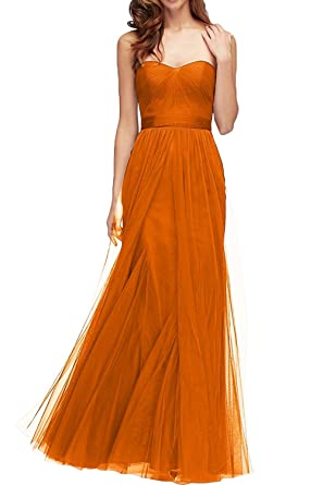 Mingxuerong Sexy Bridesmaid Dresses For Women 2018 Sweetheart Tulle Prom Gowns With Bow Orange 2