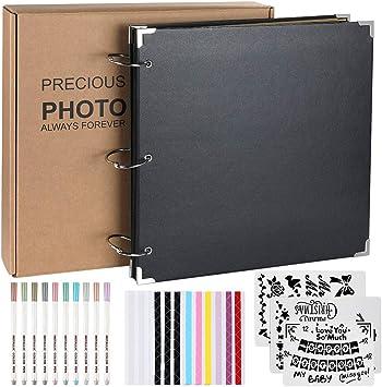 DIY Handmade Album Scrapbook 80 Pages Black Page Wedding Graduation Gift Family 26X26CM DIY Accessory Set for Anniversary Anpro Photo Album Scrapbook 40 Photos