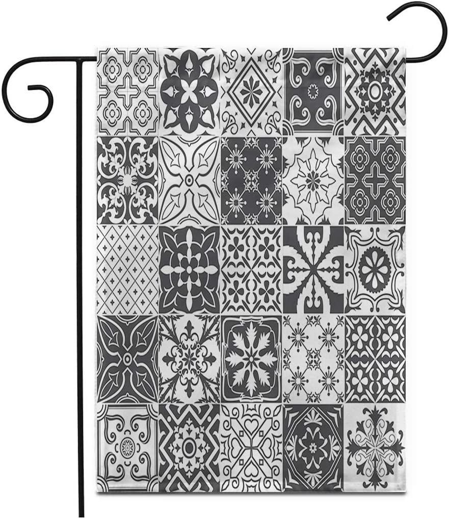 """Adowyee 12""""x 18"""" Garden Flag Colorful Portugal Big of Tiles for Ceramic and More Outdoor Double Sided Decorative House Yard Flags"""