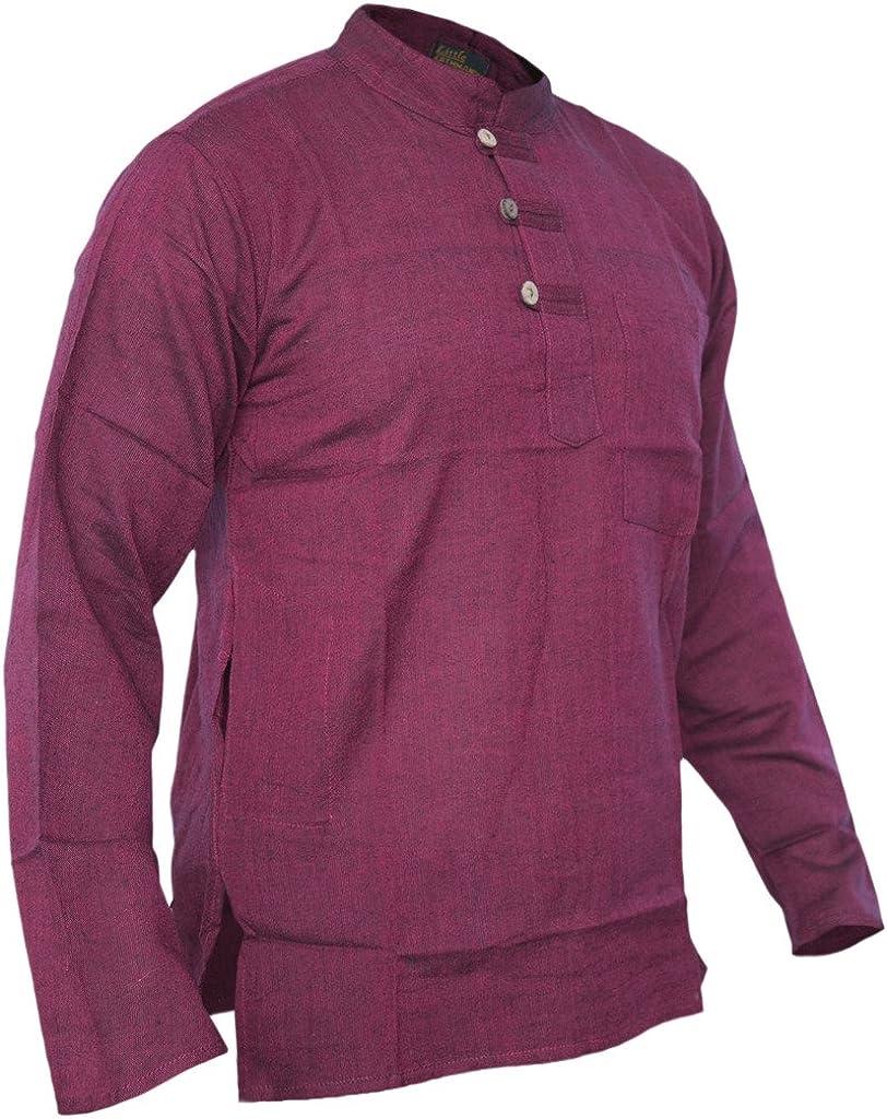 Little Kathmandu/ /Giacca tinta unita Grandad Collarless cotone Light festival estivo Shirts tops Kurta