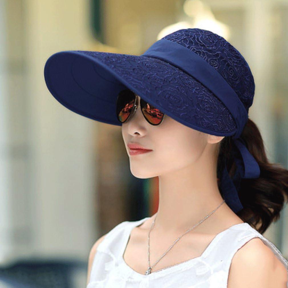 al aire libre Marea Femenina del Sombrero de la protección del Sol del Sombrero del Sol del Verano de Sun del Sombrero a lo Largo del Sombrero Salvaje Salvaje del Montar a Caballo Anti-Ultravioleta