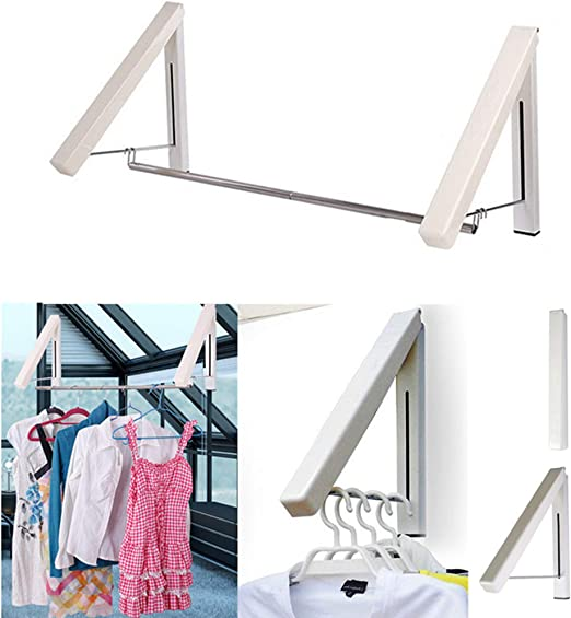 Stainless Steel Folding Wall Mount Coat Hanger Clothes Rack Garments Hanging