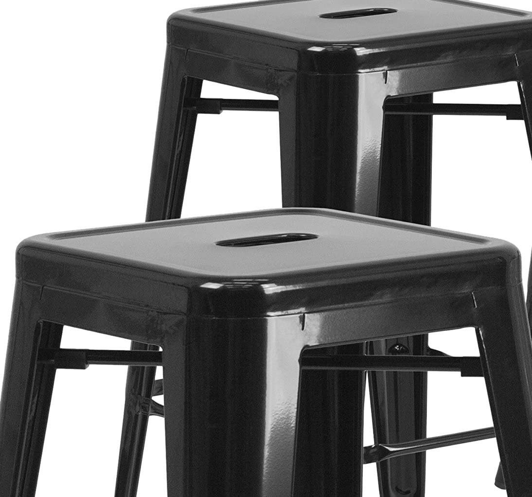 30 High Backless Black Metal Indoor-Outdoor Barstool with Square Seat Flash Furniture 4 Pk