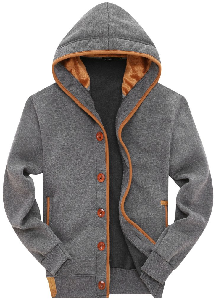 Wantdo Men's Hooded Jacket with Button US X-Large Grey by Wantdo