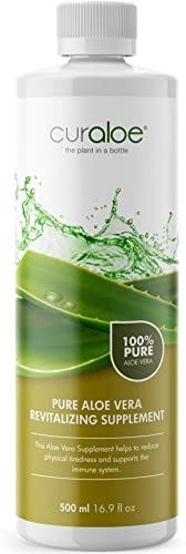 Healthy Pure Aloe Vera Juice by Curaloe Men and Women Nutrition Increase Energy Immune System Booster Heart Health Digestive Care Natural Detox Reduces Joint Inflammation Organic Drink