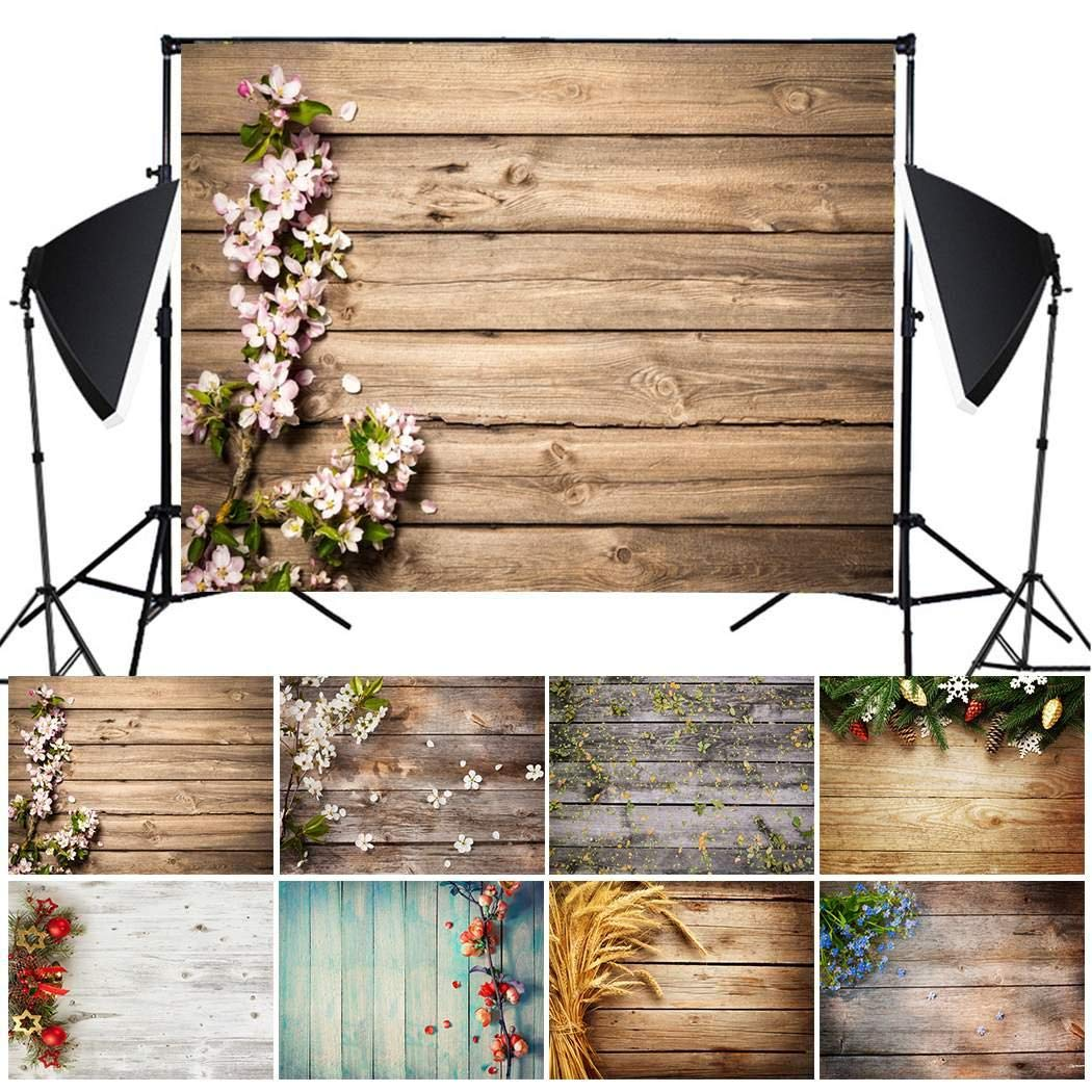 Hello22 Imitation Wood Grain Photography Backdrop 3D Photo Background Cloth for Birthday Party Wedding Decor, 49.2 x 31.5inch