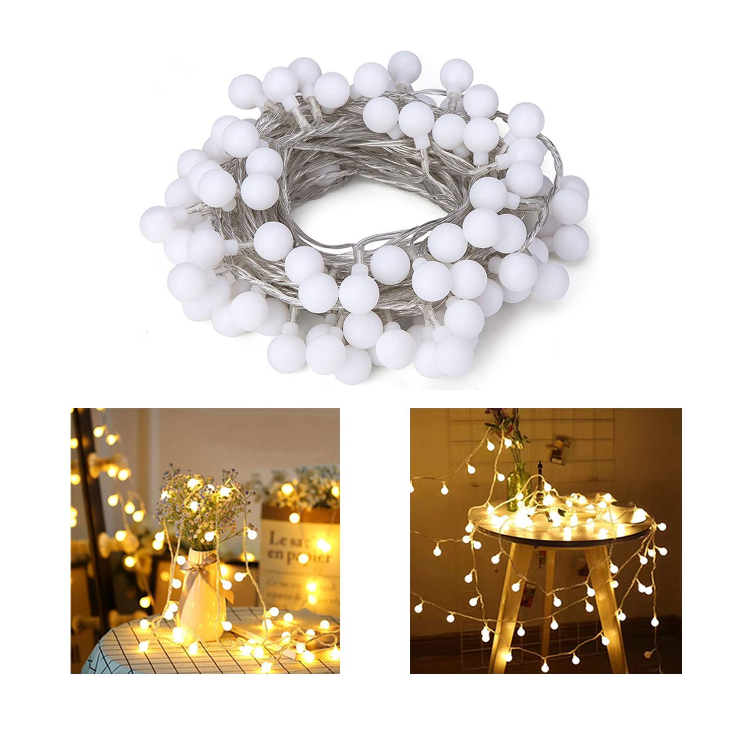 Hirosa 33ft 100 LED Globe String Lights Fairy Lighting Indoor Outdoor Decorative Light for Patio/Garden/Party/Christmas Tree/Wedding/Dorm/Room Decorations(Warm White) by Hirosa (Image #1)