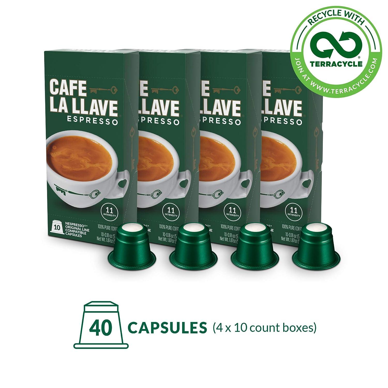 Café La Llave Espresso Capsules, Intensity 11-Recylable Coffee Pods (40 Count) Compatible with Nespresso OriginalLine Machines