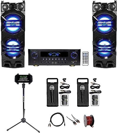 2 parlantes de karaoke LED de 10 pulgadas + amplificador de receptor + 2 micrófonos + soporte: Amazon.es: Instrumentos musicales