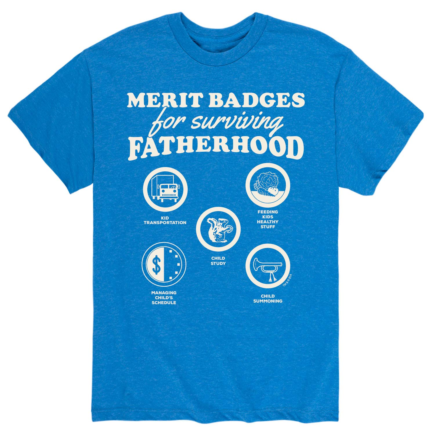 Boy Scouts of America Merit Badges for Fatherhood - Adult Short Sleeve Tee Royal Blue by Instant Message