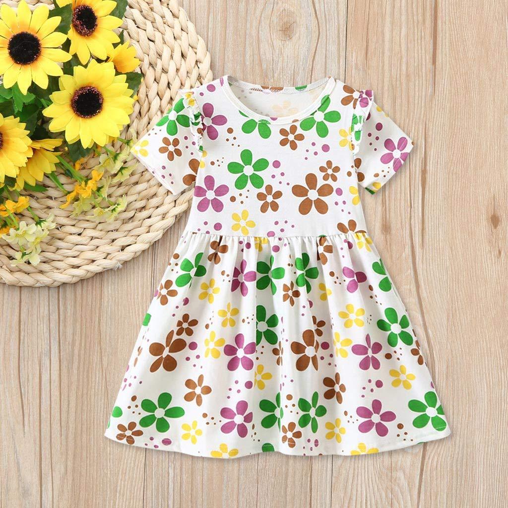 Newmao Toddler Girls Summer Short Sleeve Floral Print Dress Princess Dance Party Dress