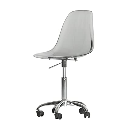 modern desk chair. South Shore Modern Office Chair With Wheels - Adjustable Height, Clear  Smoked Gray Modern Desk Chair