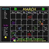"Straight Chalk Large Chalkboard Calendar Wall Decal Sticker 24"" x 18"" - Monthly Planner Blackboard Organizer Agenda Memo for Home, Kitchen, Office, Kids Room, Refrigerator"