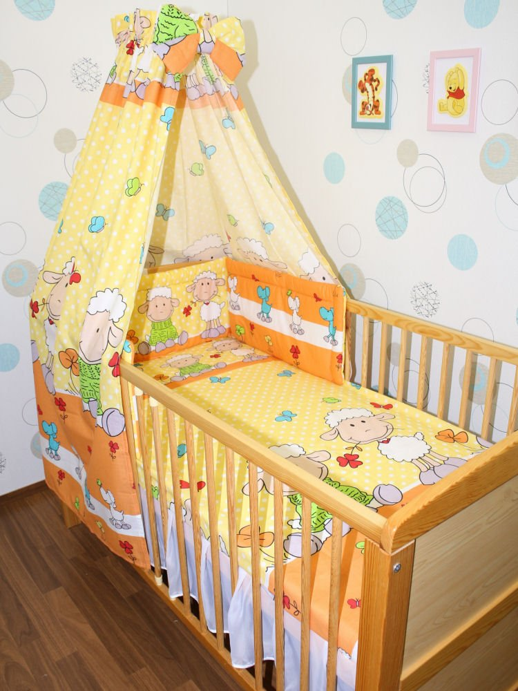 Baby Bettset -6 tlg- mit Bettwäsche Nestchen Vollstoff Himmel Bettausstattung D1 Primawela