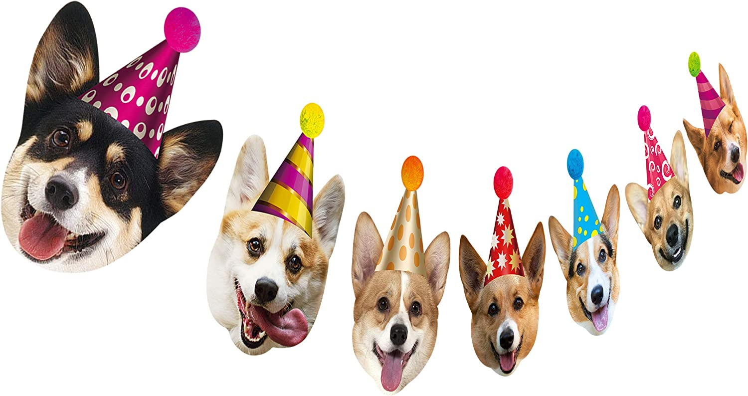 Silvima Dogs Birthday Garland, Funny Corgi Face Portrait Birthday Banner, Dog Bday Bunting Decoration