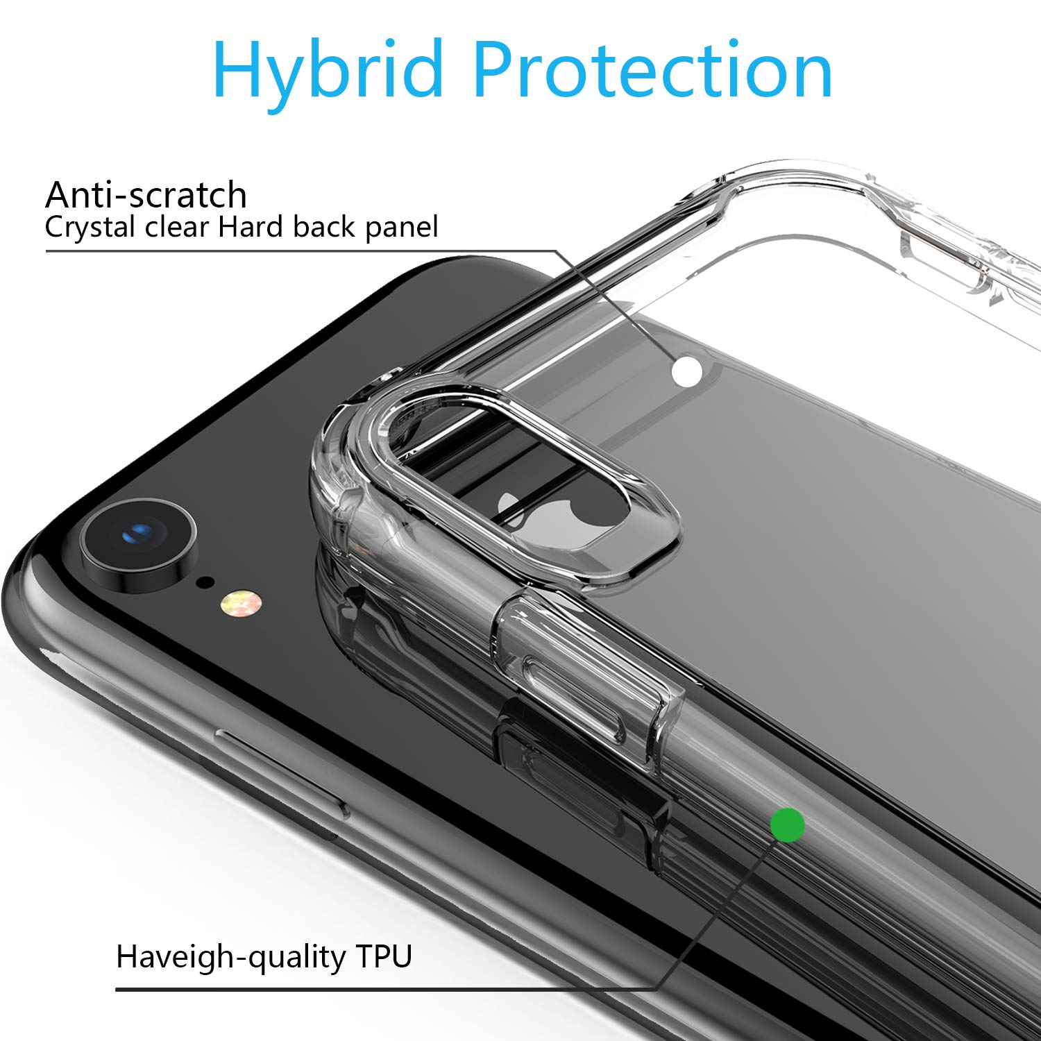 EFFENX iPhone XR Case - Clear Cover iPhone XR Shockproof Bumper with Air Cushion Protective case Soft and Slim (Clear Color) by EFFENX (Image #3)