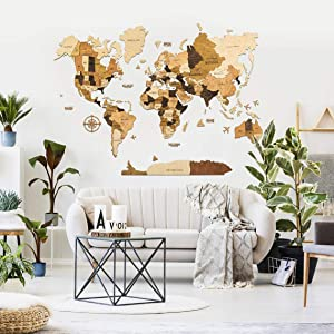 Wood world map wall art 3d wood world map World map decor World maps for wall Wooden map Home decor Rustic decor Farmhouse wall decor