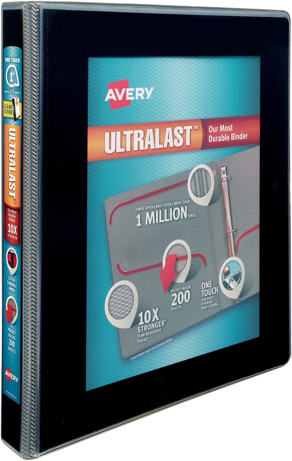 79710 Holds 8.5 x 11 Paper One Touch Slant Ring Avery 1 Ultralast 3 Ring Binder 1 Black Binder