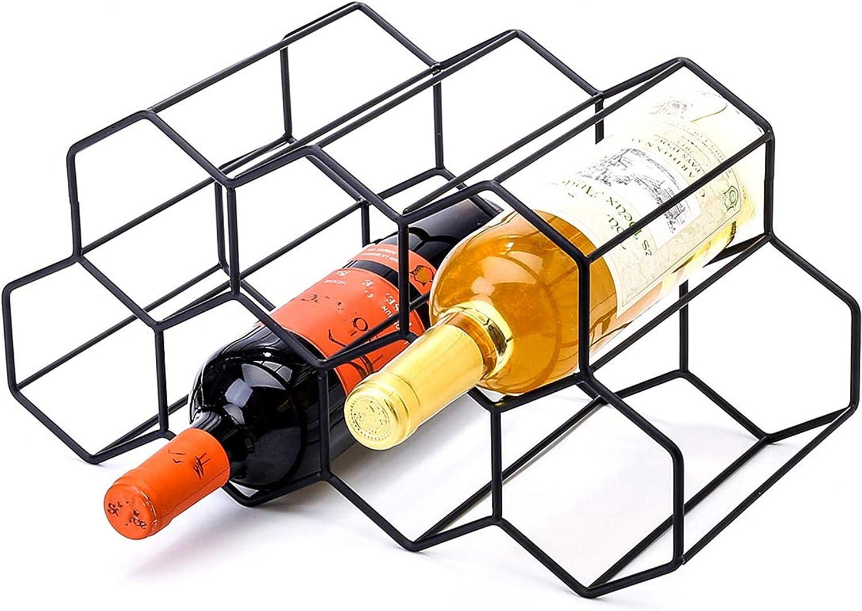 CMDREAM Black Metal Wine Rack Freestanding, Tabletop Wine Rack Holder, Countertop Wine Bottle Holder - Geometric Design for Wine Cellar Bar Cabinet (Black - 9 Bottles)
