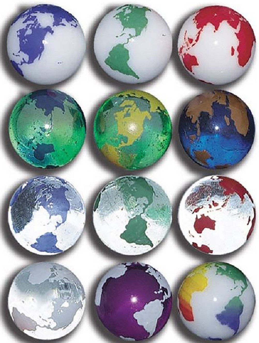 """Unique & Custom {7/8'' Inch} Set Of 50 Big """"Round"""" Clear & Opaque Marbles Made of Glass for Filling Vases, Games & Decor w/ Educational Bold Vibrant Earth Globe Design [Assorted Colors]"""