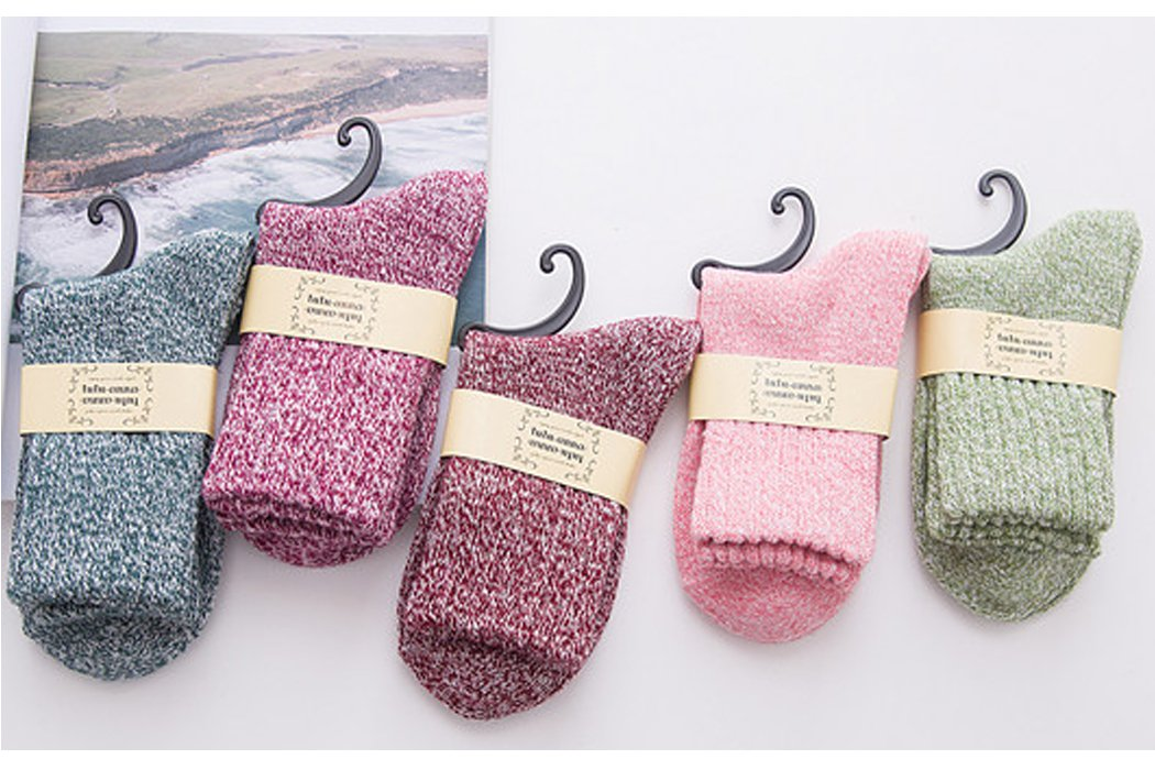 Yuhan Pretty 5 Pairs Womens Winter Warm Thick Knit Wool Cozy Vintage Crew Socks (Style 2, 5PCS) by Yuhan Pretty (Image #2)