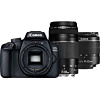 Canon EOS 4000D 18-55mm + 75-300mm Fotoğraf Makinesi, Full HD (1080P), Siyah, 2 Yıl Canon Eurasia Garantili