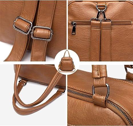 Monitika Rucksack Damen Multifunktional Modische Elegant Leder Rucksack L/ässig Travel Rucks/äcke Braun