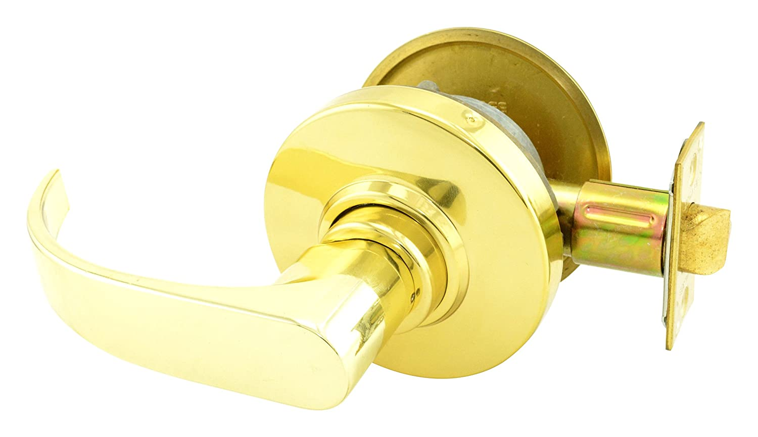 Neptune Lever Design Bright Brass Finish Schlage commercial AL50PDNEP605 AL Series Grade 2 Cylindrical Lock Entry//Office Function Push Button Locking