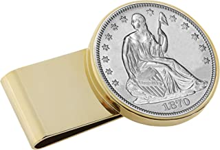 product image for Silver Seated Liberty Half Dollar Stainless Steel Coin Money Clip