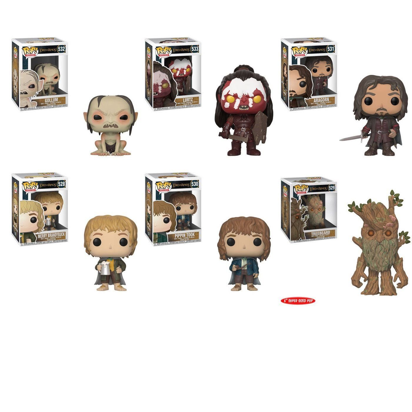 "Funko Lord of the Rings Gollum ~ Lurtz ~ Merry ~ Pippin /& Aragorn 3.75/"" Pop /& Treebeard 6 Pop Figure Bundle"
