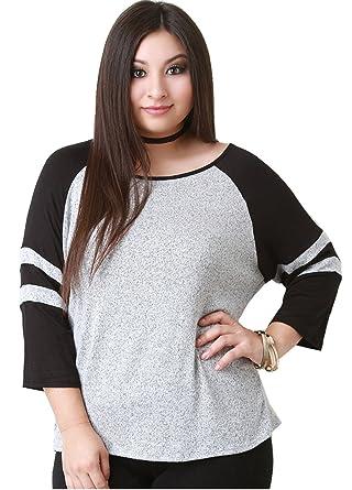 6d865e7bc68 Arctic Cubic Plus Size Raglan Sleeve 3 4 Sleeve Varsity Striped Stripe  Baseball T-