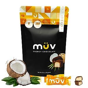 MUV Energy Chocolate Truffles - Coconut Chocolate Truffles - Healthy Snacks for Adults - Caffeinated Chocolate Alternative - Caffeine Substitute - Energy Truffles - 30 Pack