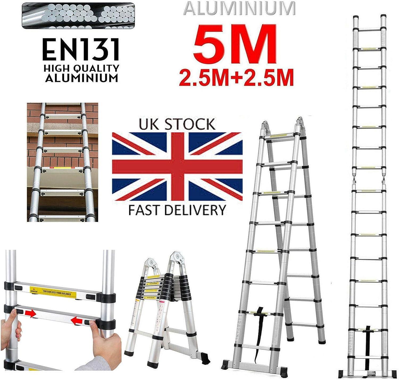 Escalera telescópica de 5 m (2,5 m + 2,5 m) con marco en A y extensión recta, escalera de aluminio plegable, resistente, bloqueo de seguridad, multifunción, carga máxima 150 kg: Amazon.es: Bricolaje y herramientas