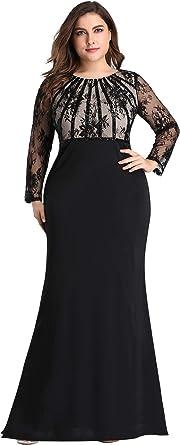 Ever Pretty Women's Floor Length Long Sleeve Round Neck Fishtail Plus Size Evening Dresses EZ07771
