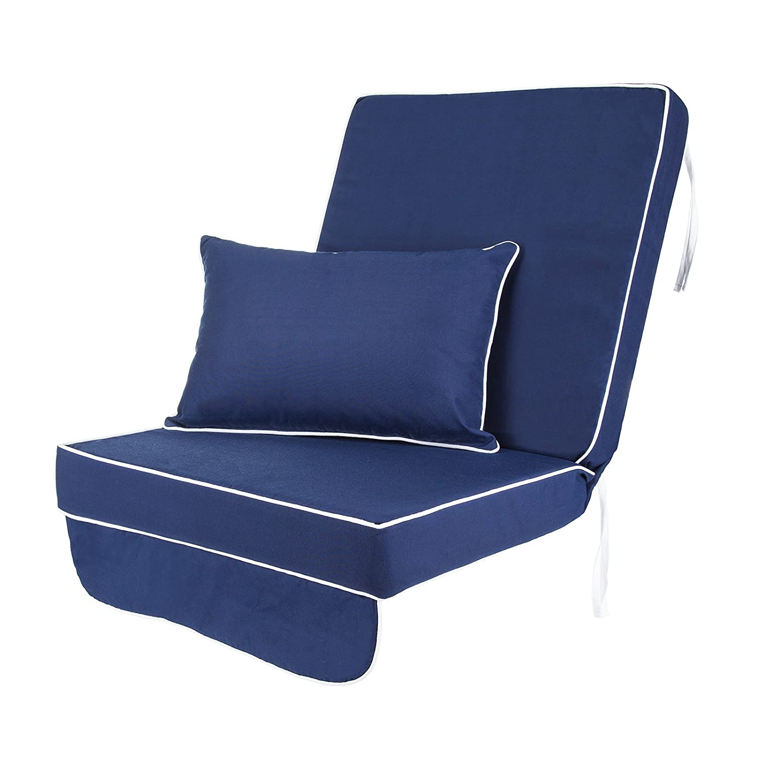 Replacement Luxury Garden Swing Seat Chair Cushion Choice of Colours (Blue with White Piping) Alfresia