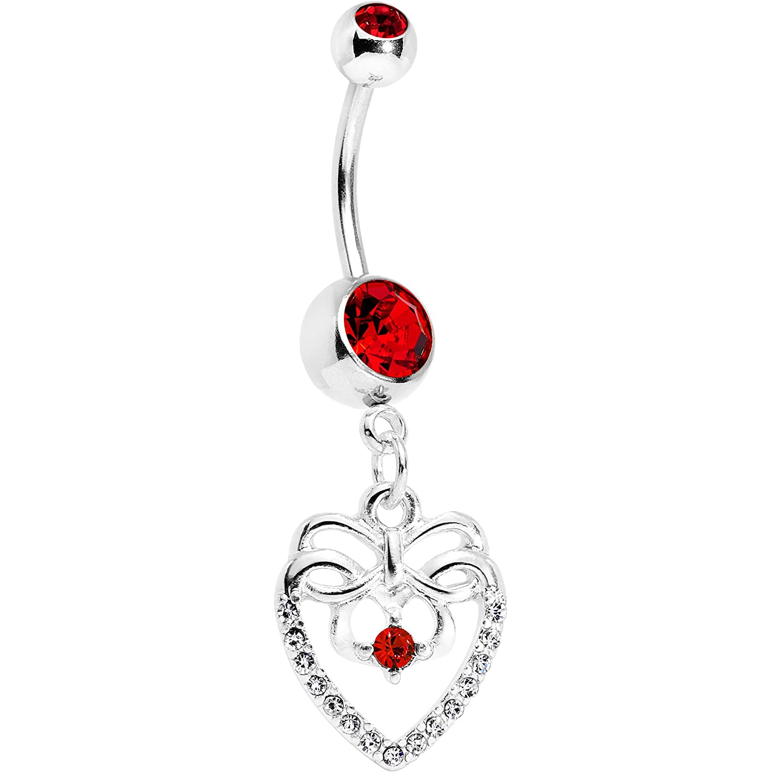 Body Candy Stainless Steel Accent Bow Heart Dangle Belly Ring 60926-PK