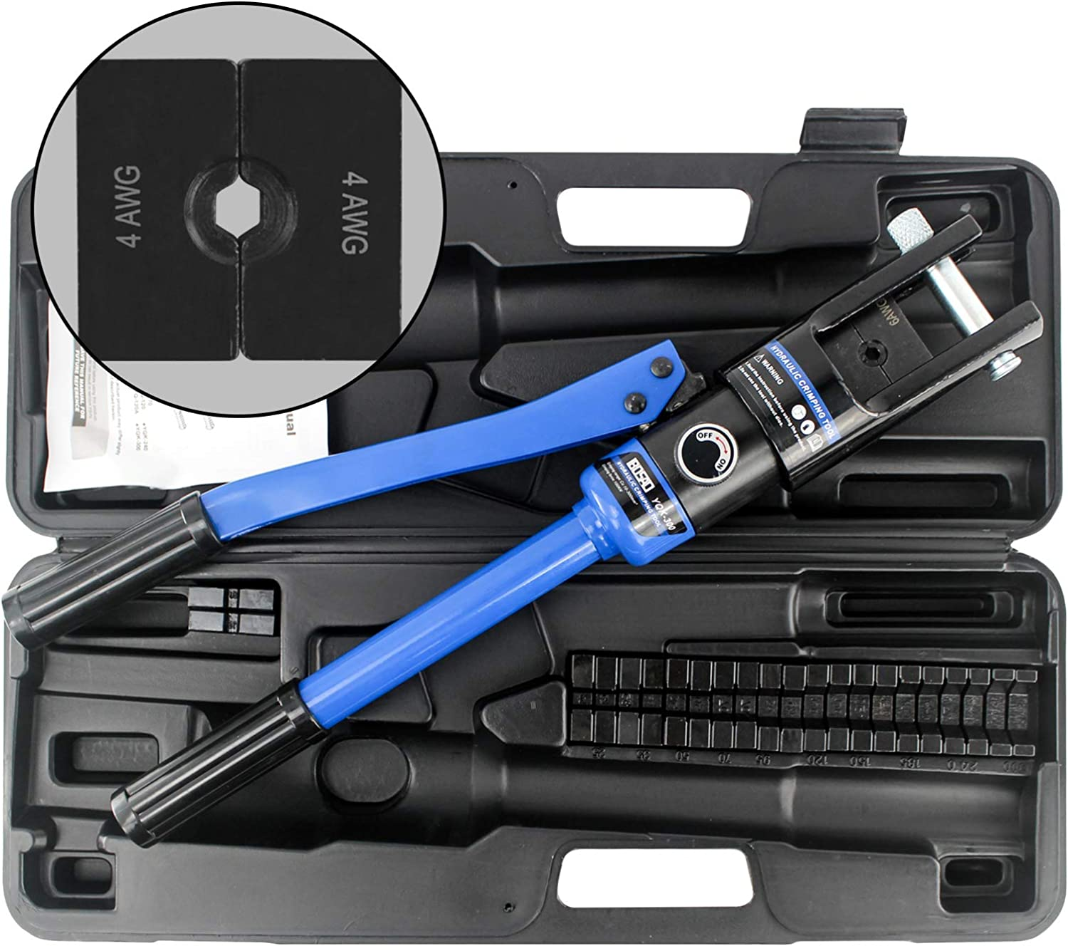 IBOSAD Hydraulic Cable Lug Crimper Crimping Tool 6 AWG to 600 MCM Electrical Battery Terminal Cable Wire Tool Kit Wire,marked with AWG