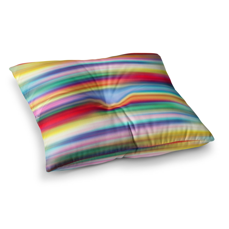 26 x 26 Square Floor Pillow Kess InHouse Danny Ivan Blurry Cool Rainbow Blur