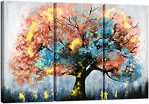 LevvArts 3 Pieces Large Tree Painting on Canvas Modern Blue and Orange Tree Art Picture Print for Home Living Room Decor Gallery Canvas Wrapped Ready to Hang 16x32inchesx3pcs