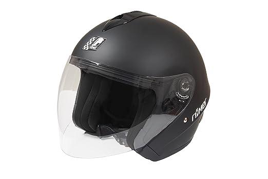 Gr/ö/ße L Schwarz R/ömer Helmets f/ür den Stra/ßenverkehr Zugelassener Jethelm R/ömer ST11 mit Gro/ßem Visier