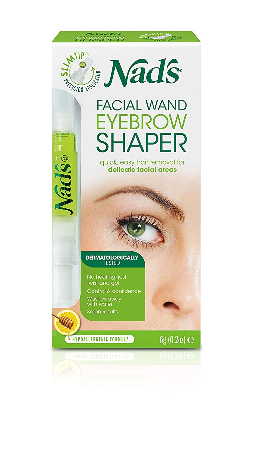 Nad's Eyebrow Wax Kit - Hair Removal Waxing Kit For Delicate Facial Areas, Facial Wand Shaper + Strips + Wipes; 0.2 oz (6g)