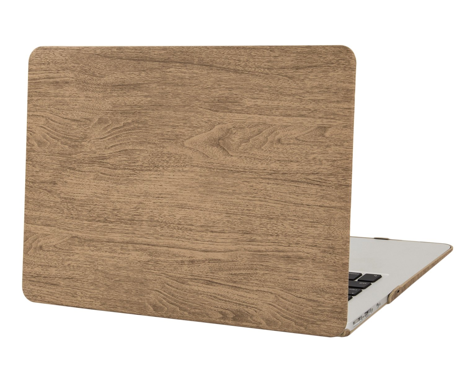 Mosiso Wood Grain Texture PU Leather Coated Hard Shell Case Cover for MacBook Air 13 Inch (Models: A1369 and A1466), Light Brown 13MBA_R-PU-Silk-Wood-Grain