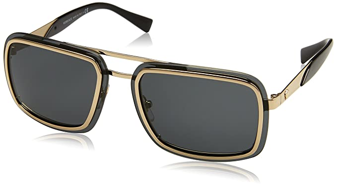 d72ac5601b8b9 Image Unavailable. Image not available for. Colour  Versace Men s Mirrored  VE2183-125287-63 Black Square Sunglasses