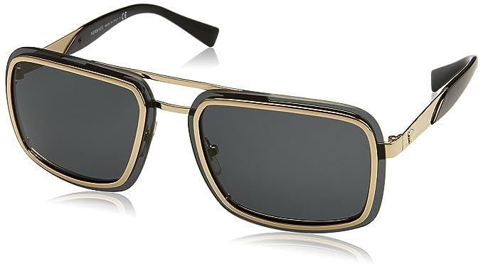 Versace Herren Sonnenbrille 0VE2183 125287, Gold (Pale Gold/Grey), 63