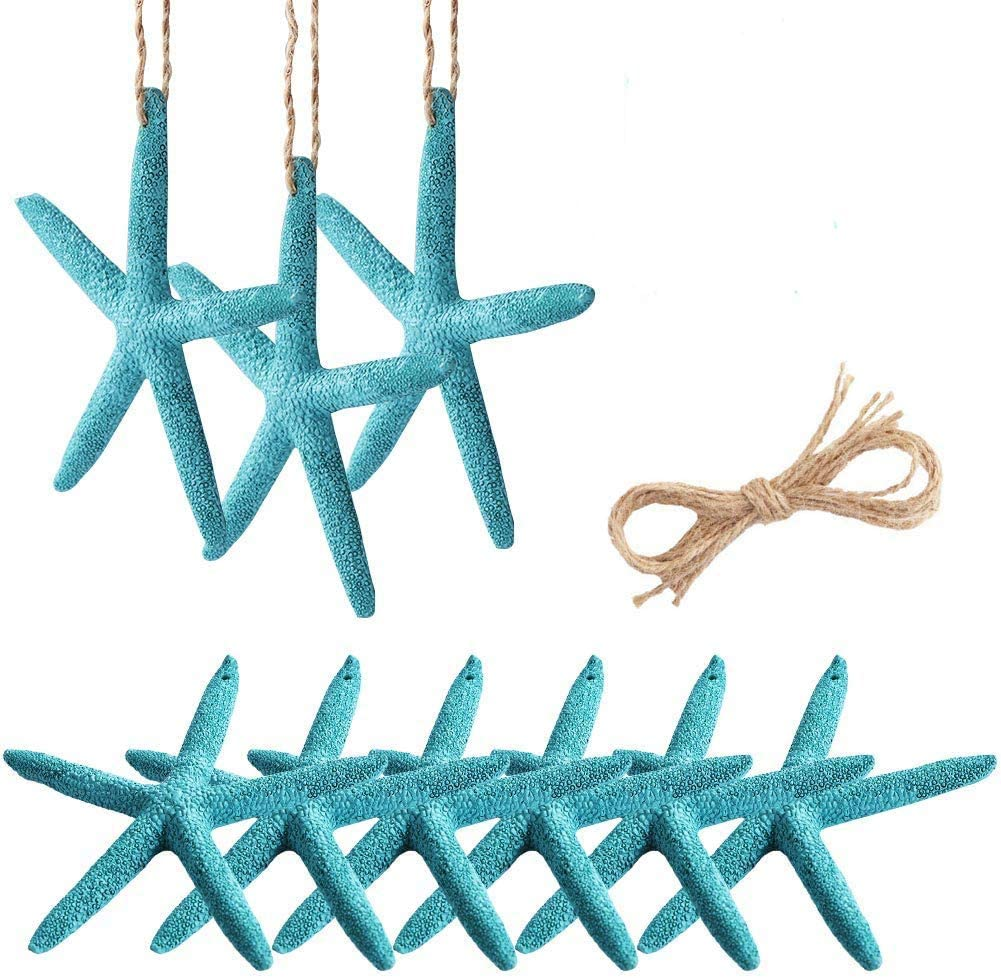 OurWarm 30pcs Blue Resin Pencil Finger Starfish with Hemp Rope, 4-Inch Artificial Starfish Hanging Decor for Beach Wedding Christmas Ornaments, DIY Craft Projects
