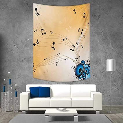Smallbeefly Music Home Decorations Living Room Bedroom Abstract Artwork  Melodies Flying Notes Speakers Sound Illustration Wall